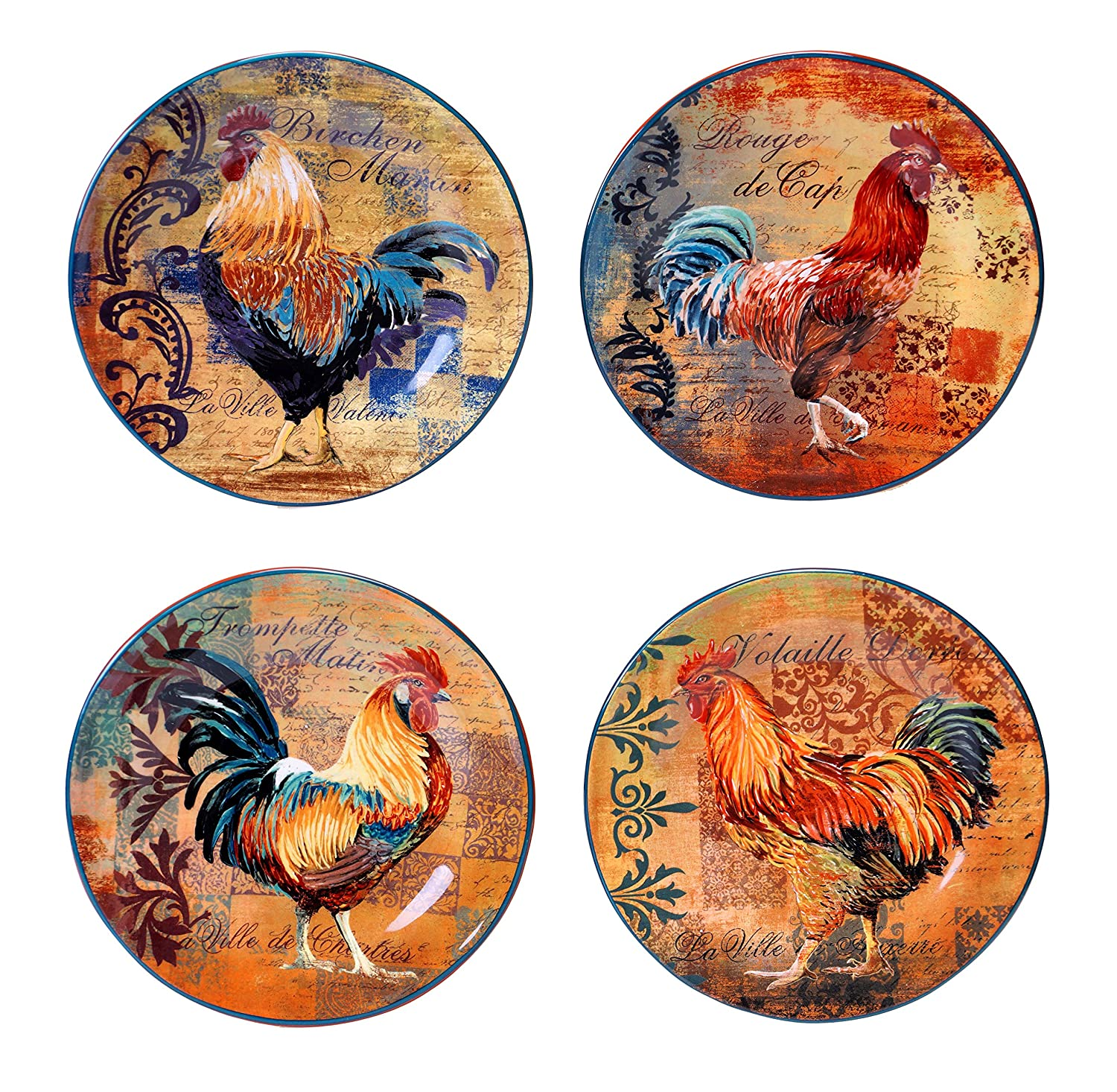Certified International Rustic Rooster Salad/Dessert Plate, 8.75-Inch, Multicolor, Set of 4 44136SET/4