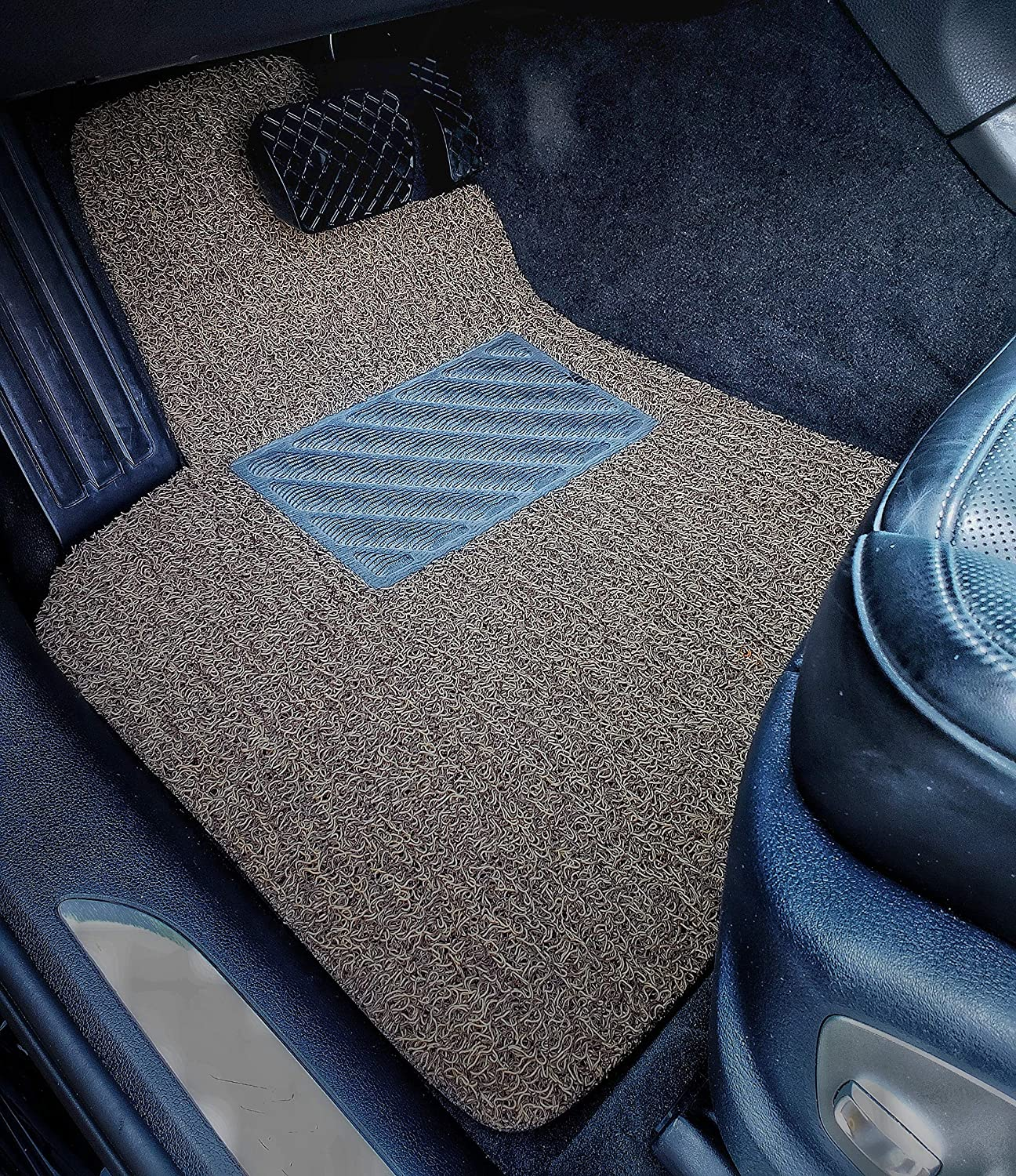 Autotech Zone Custom Fit Heavy Duty Custom Fit Car Floor Mat for 2011-2014 Hyundai Sonata Sedan All Weather Protector 4 Piece Set Beige and Brown