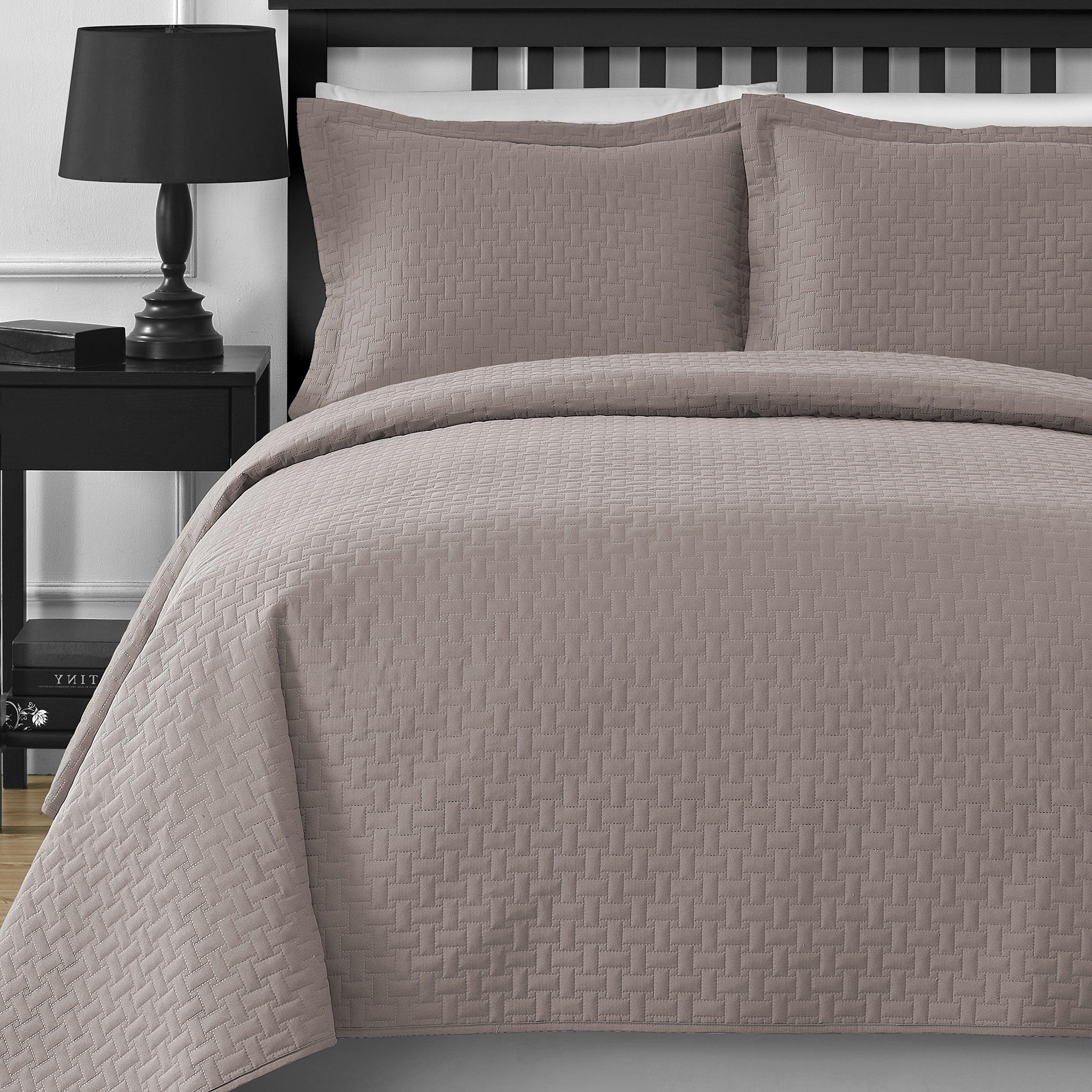 Extra Lightweight Comfy Bedding Frame 3-piece Bedspread Coverlet Set (King/Cal King, Khaki)