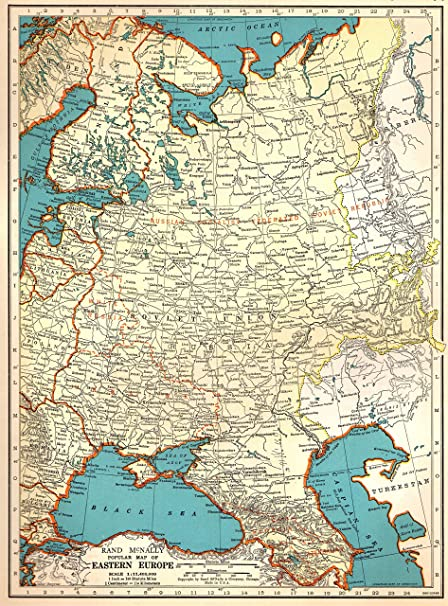 Amazon.com: 1939 Antique Eastern Europe Map Original Vintage Map of ...