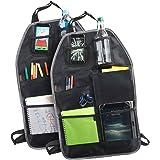 VonHaus 2 Pack Car Organisers Premium Durable Set | Back Seat Storage | 7 Pockets & Drink Holder - 1680D Oxford Fabric | 2 Set
