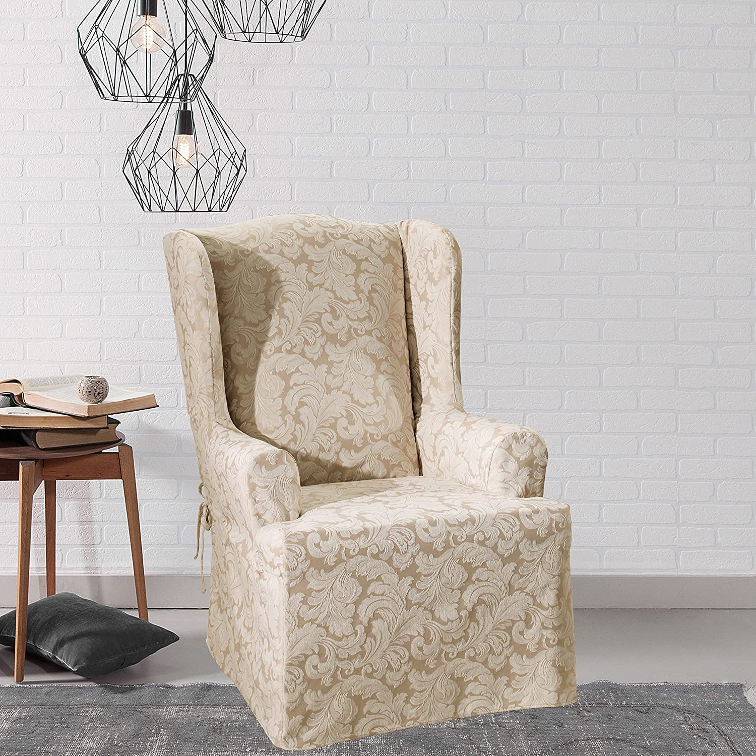 SureFit Sure Fit Scroll Burgundy Wing Chair Slipcover SF30110