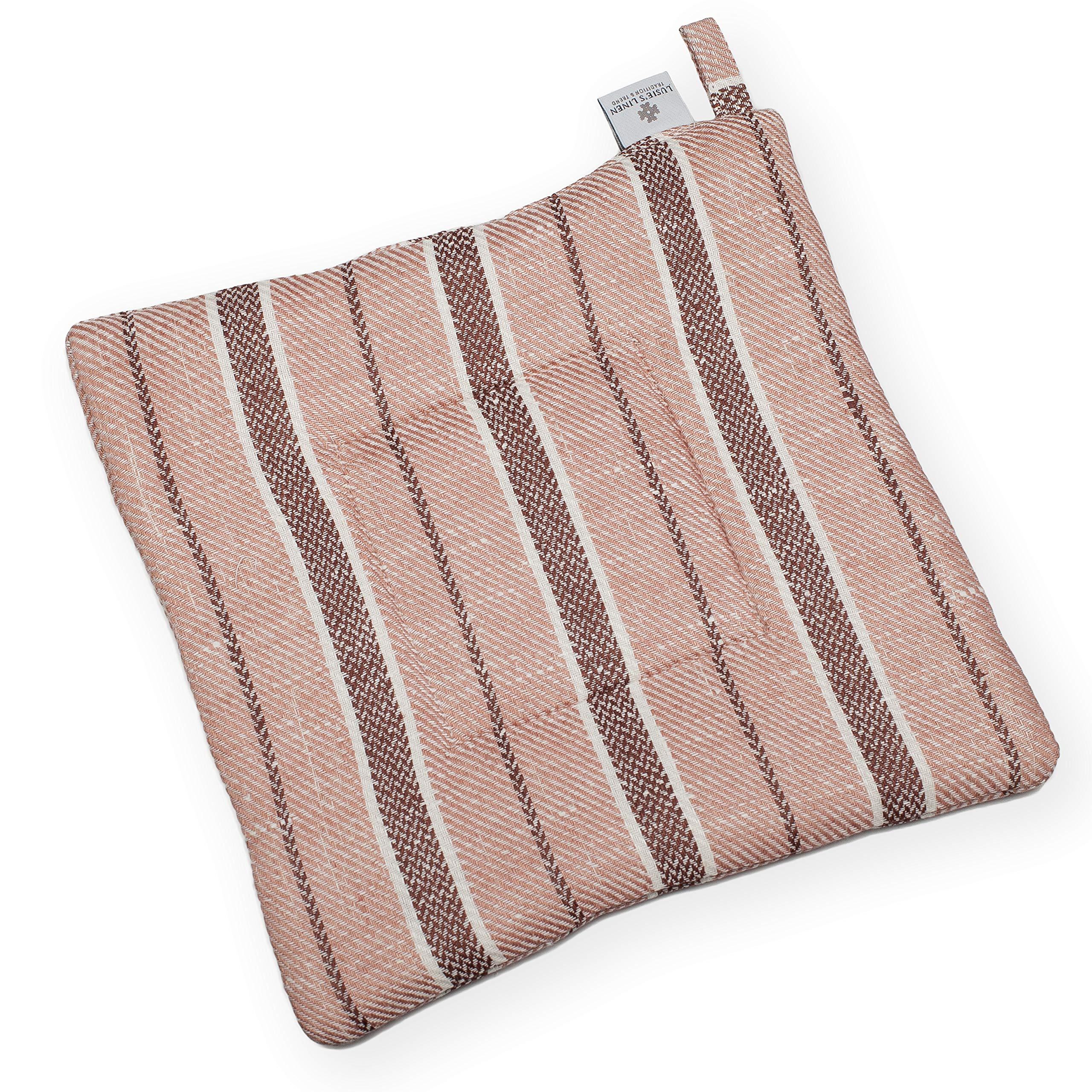 Pot Holder - Linen/Cotton Woven Fabric - 9''x9'' - Light Brown - Striped