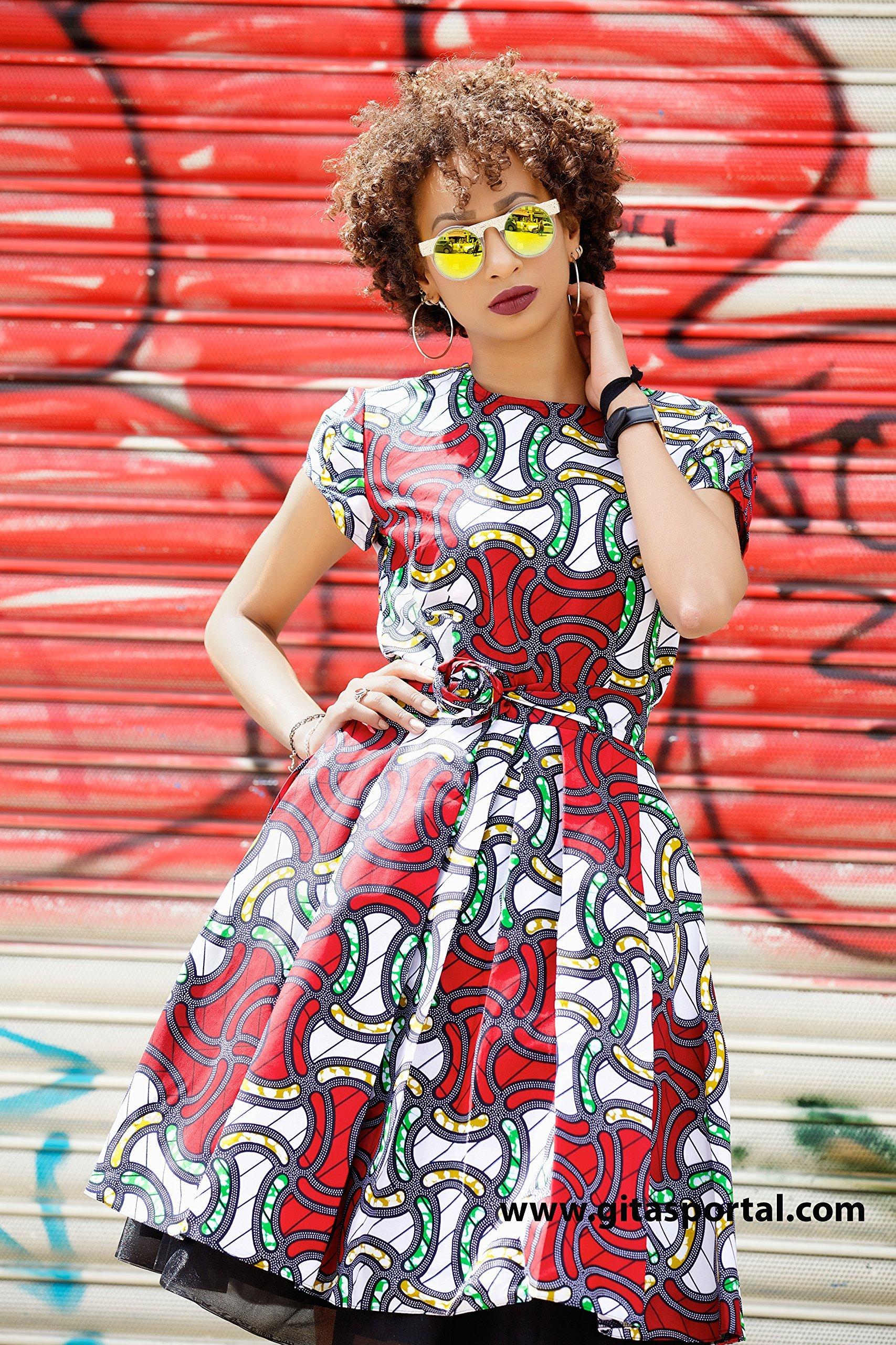 Ankara print dress /African knee length print dress / African wax dress / kitenge dress - Alice red