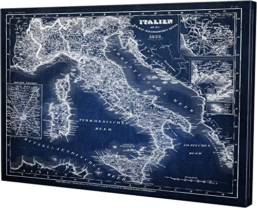 WEXFORD HOME Italy Sketch Map Blue Gallery Wrapped Canvas Wall Art