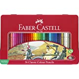 Faber Castell 115846 - Estuche de metal con 36 ecolápices hexagonales de colores, lápices escolares, multicolor