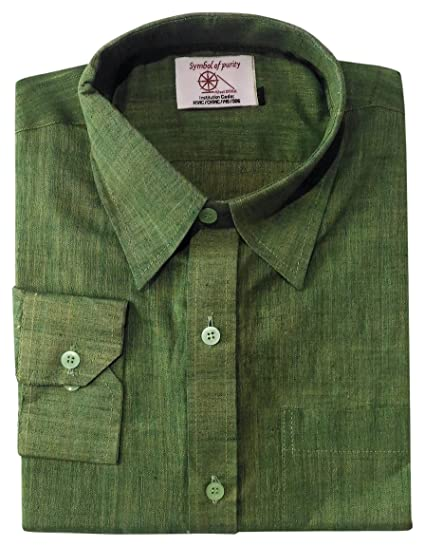 Khaddi Sangam Men's Handwoven Khadi Formal Shirt (Green, Large
