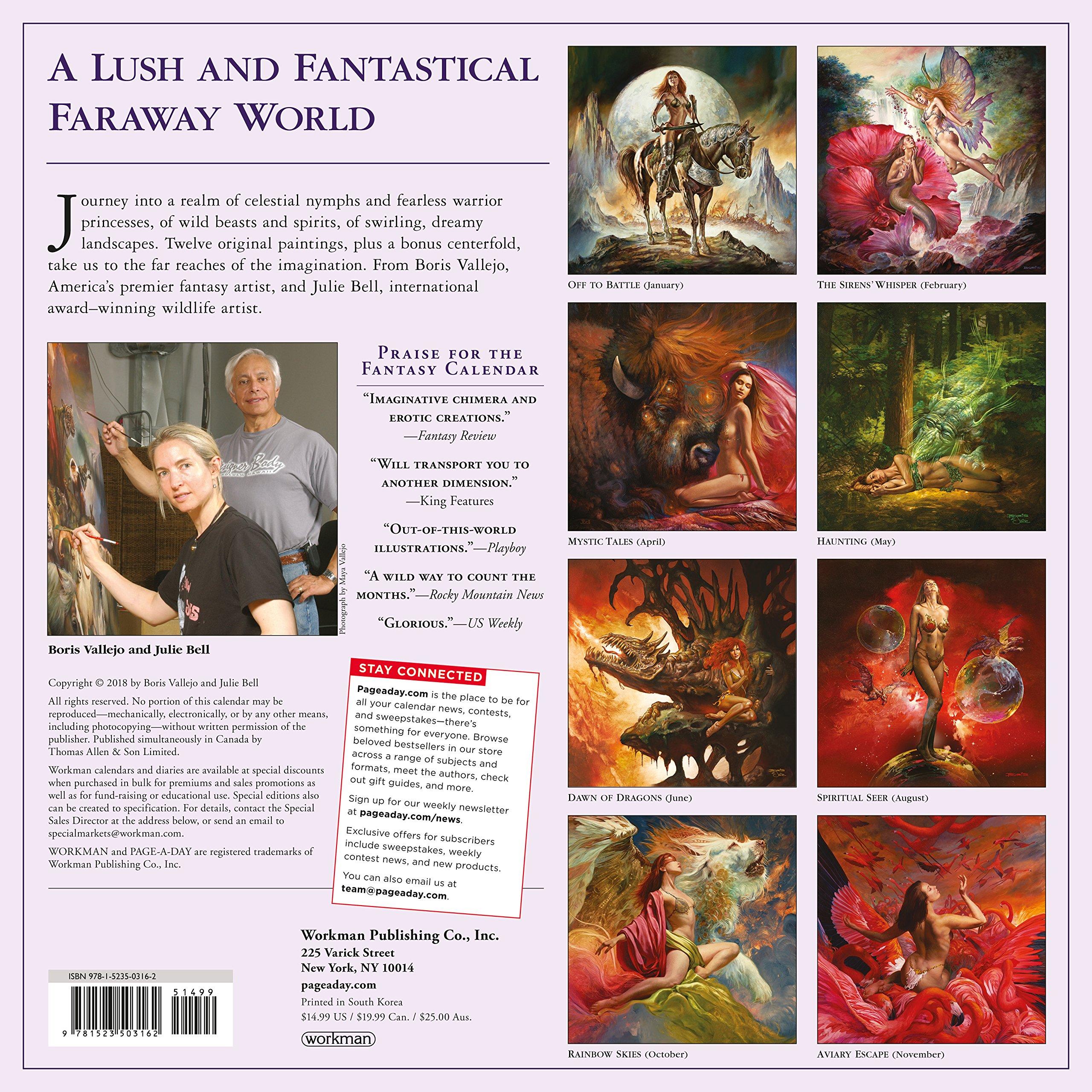 Boris Vallejo & Julie Bell's Fantasy Wall Calendar 2019 by Workman Publishing (Image #2)