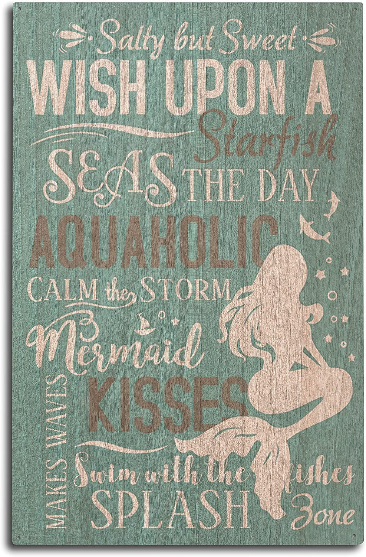 Lantern Press Mermaid Typography (10x15 Wood Wall Sign, Wall Decor Ready to Hang)