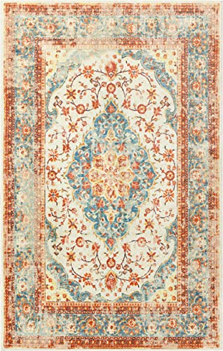 Mohawk Home Prismatic Bellepoint Vintage Lattice Medallions Precision Printed Area Rug, 8 x10 , Orange and Blue