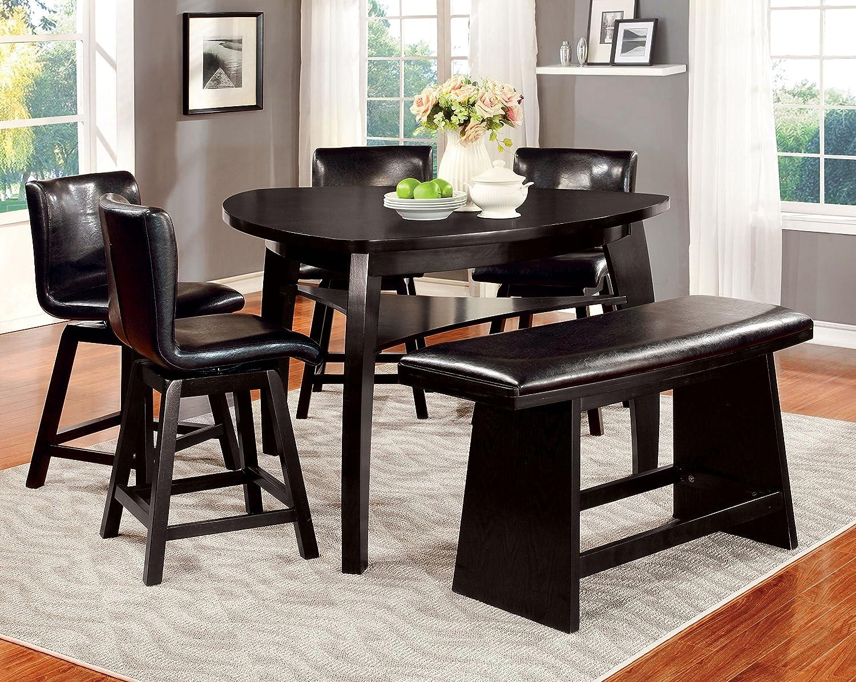 Furniture of America Morley 9 Piece Pub Dining Set, Black