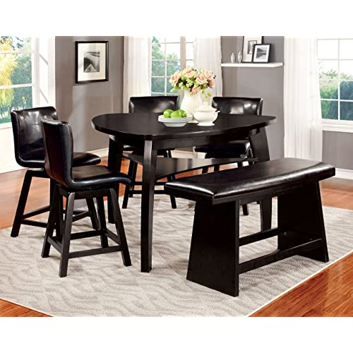 Beau Furniture Of America Morley 6 Piece Pub Dining Set, Black