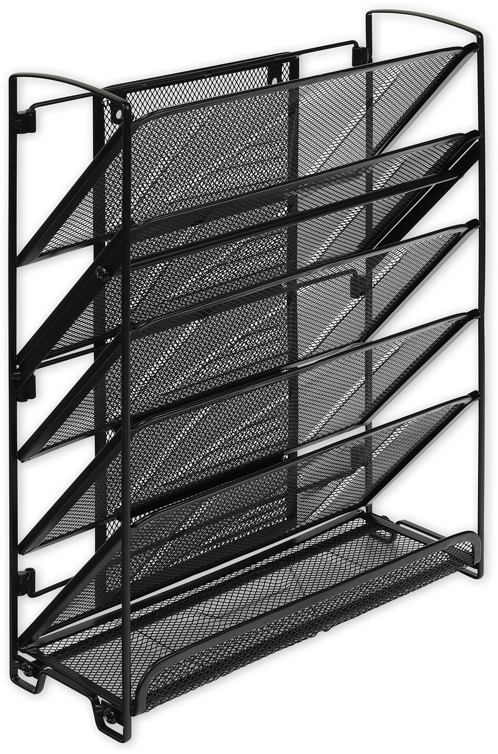 SimpleHouseware 6 Tier Wall Mount Document Letter Tray Organizer, Black by Simple Houseware (Image #4)