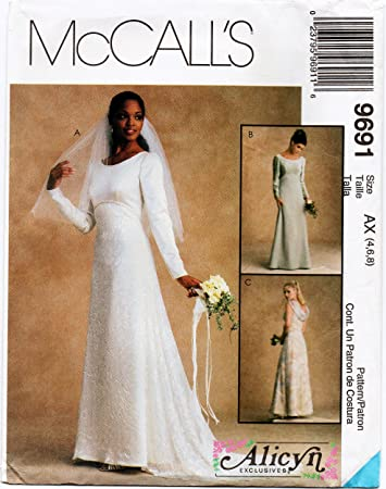Amazon.com: McCalls 9691 Misses Lined Wedding Gown Evening Gown ...