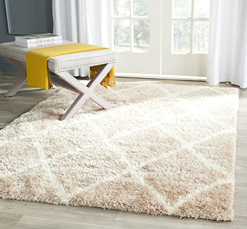 Safavieh Montreal Shag Collection SGM831C Beige and Ivory Area Rug 3 x 5