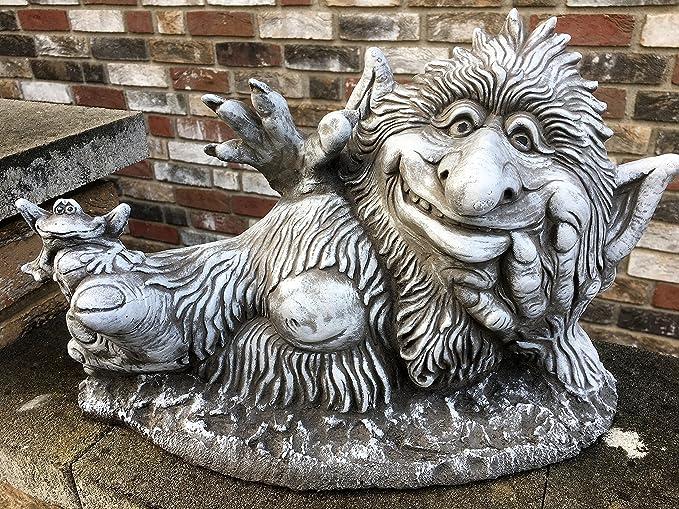 piedra Figura Gnomo Troll para jardín decoración jardín figuras gnomo Fantasía Figura tr.1: Amazon.es: Jardín