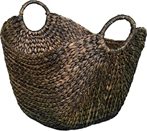 BirdRock Home Water Hyacinth Laundry Baskets (Espresso) - One Basket Included - Hand Woven