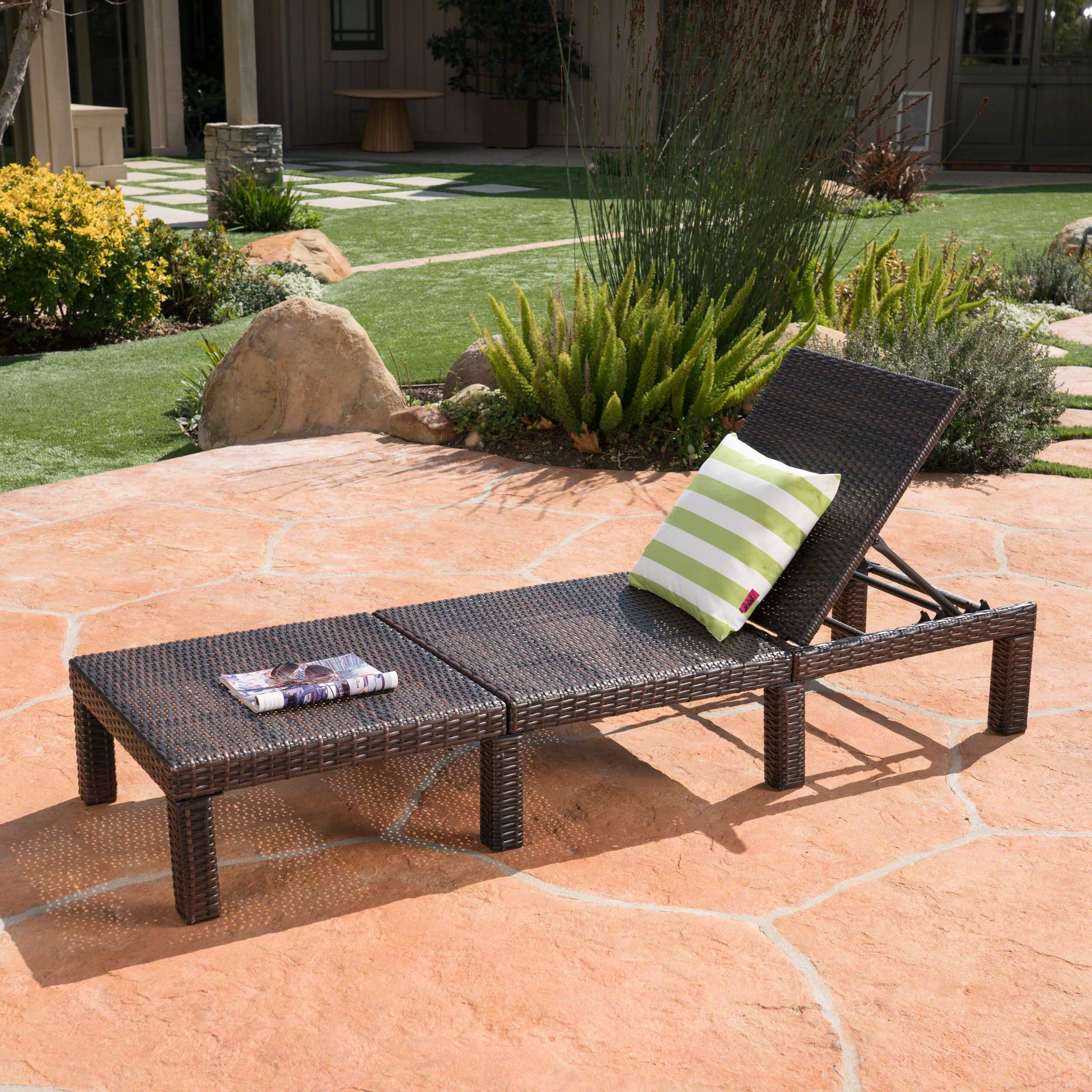 Christopher Knight Home Joyce Outdoor Multibrown Wicker Chaise Lounge Without Cushion