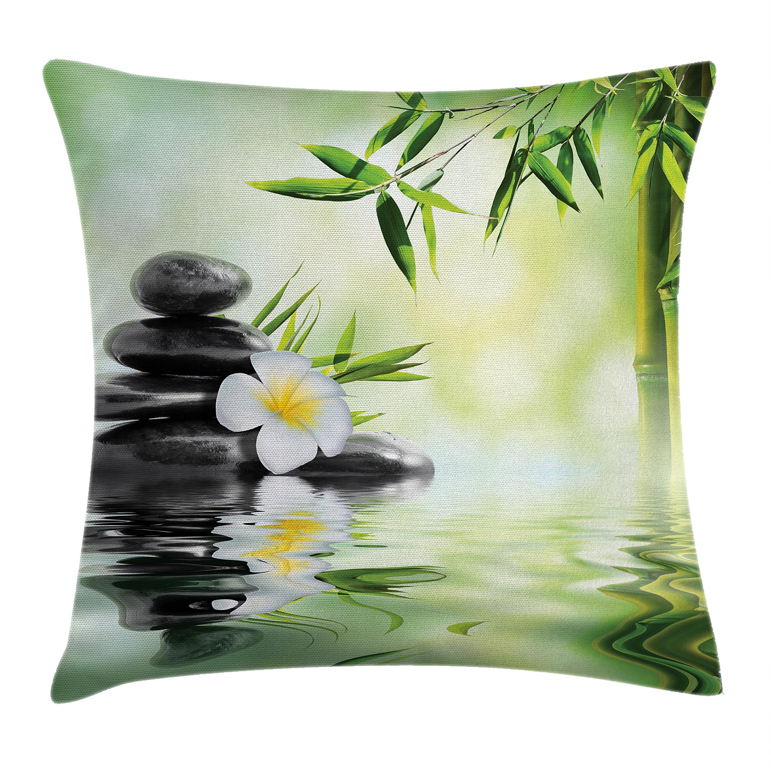 Ambesonne Spa Throw Pillow Cushion Cover, Garden with Frangipani Bamboo Japanese Relaxation Resting Travel, Decorative Square Accent Pillow Case, 20 X 20 Inches, Pale Green Charcoal Grey Yellow