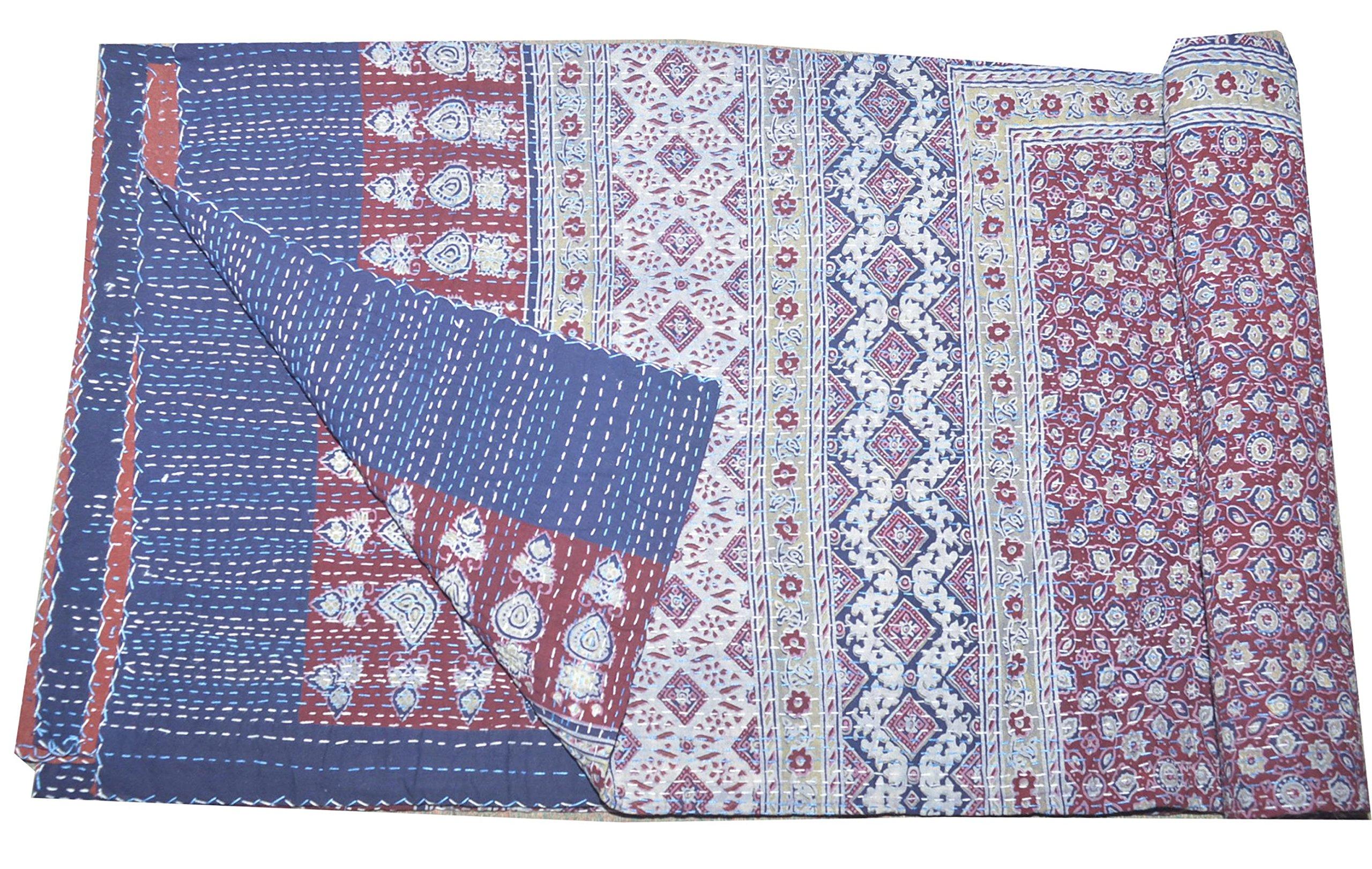 Tribal Asian Textiles Queen Size Ajarak Kantha Quilt Cotton Reversible Ralli Bed Spread Blanket Throw (Blue Rustic Design)