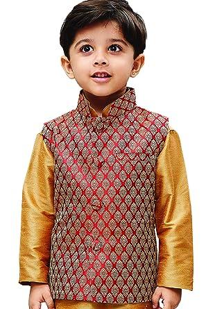 2798c9e0b JBN Creation Boys Silk Cotton Modi Nehru Jacket (Maroon_VASBJMA005 ...
