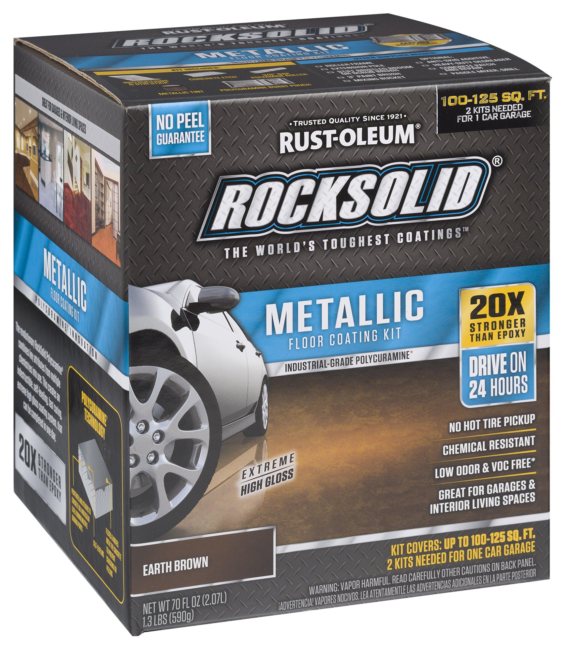 Rust-Oleum 286895 Rock Solid Garage Floor Coating Kit Earth Brown 70 Fl. Oz