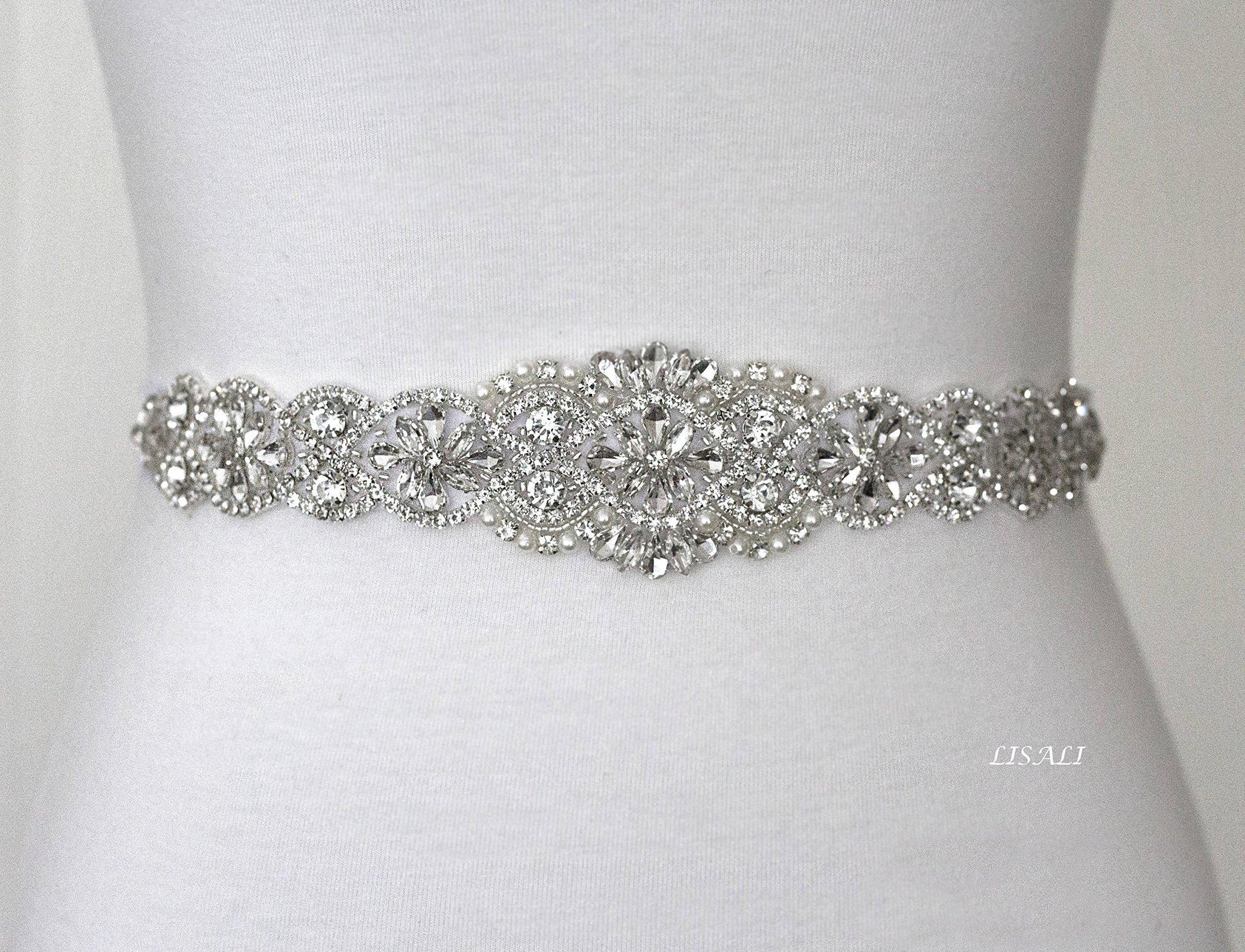 LISALI 17'' Sparkly Wedding Belt, Rhinestone Belt, Bridal Belts, Rhinestone Chain Belt, Crystal Sash Belt, Wedding Dress Belts Crystal