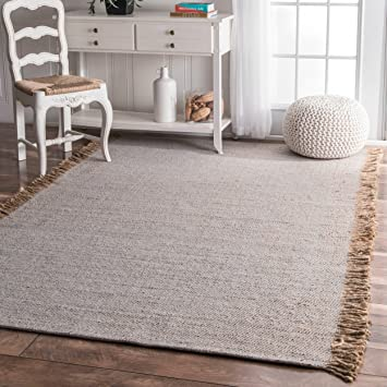 Flatweave Solid Tassel Grey Area Rugs, 5 Feet By 8 Feet (5u0027 X