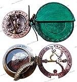 Handmade Brass Sundial Compass - Pocket Sundial -Brass Antiques West London. Beautiful Gift Item. C-3058