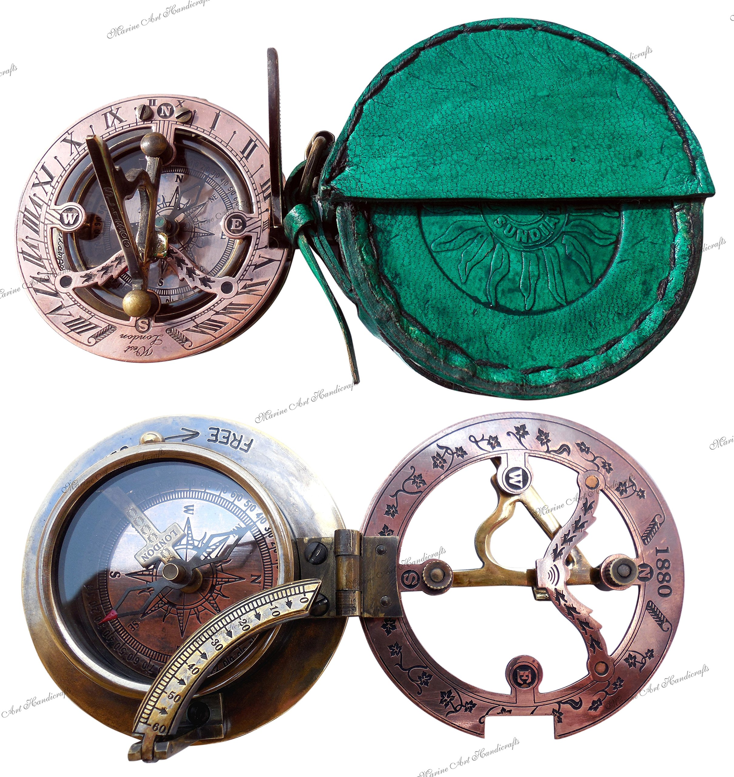 MAH Handmade Brass Sundial Compass Beautiful Gift Item with Leather Box. C-3058-A