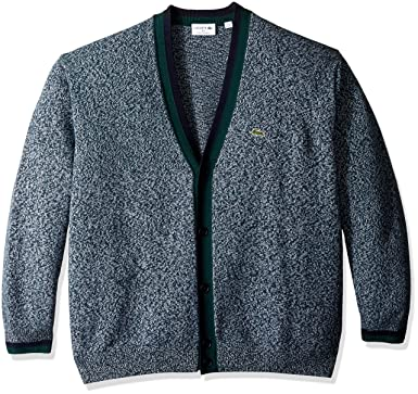 beae0b594 Lacoste Men s Long Sleeve Made in France Wool Cardigan at Amazon ...