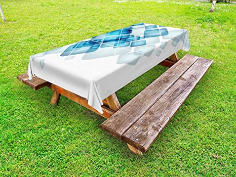 Miraculous Amazon Com Lunarable Abstract Outdoor Tablecloth Blue Evergreenethics Interior Chair Design Evergreenethicsorg