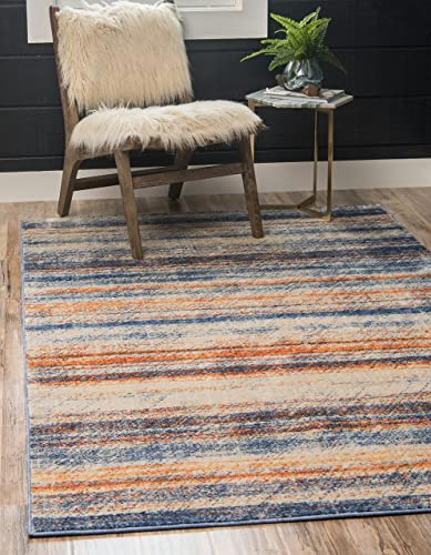 Unique Loom Helios Collection Modern Distressed Striped Multi Area Rug 8 0 x 10 0