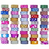 60 Rolls Glitter Washi Tape Set, Washi Masking Decorative Tapes for DIY Decor Planners Scrapbooking Adhesive School/Party Sup