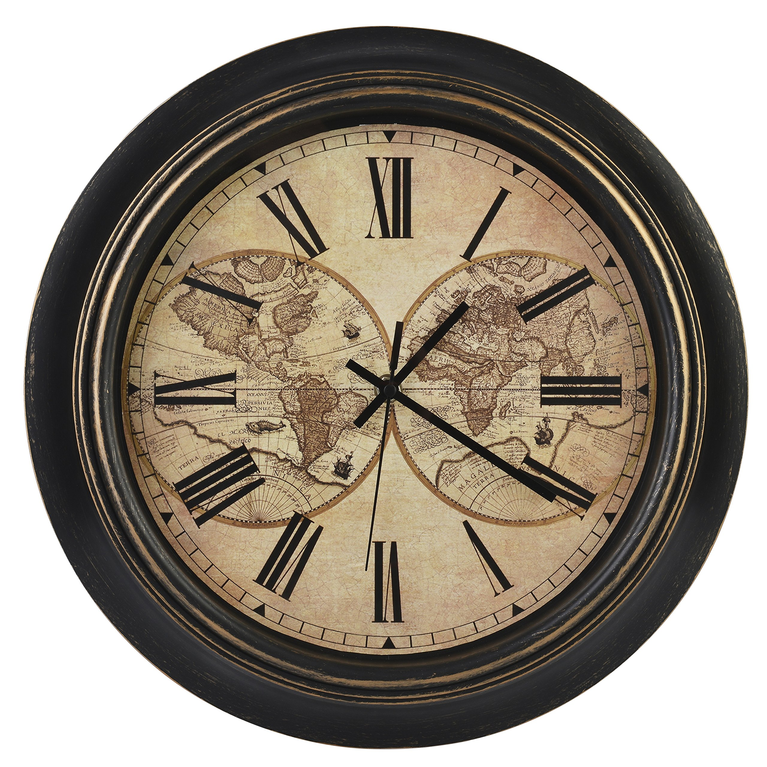 Old Oak 14-Inch Silent Non-Ticking Battery Operated Decorative Wall Clock with Classic Retro World Map Roman Numerals