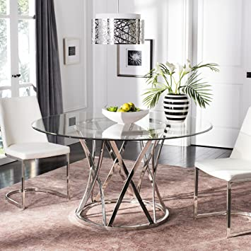 1fc1278d316032 Image Unavailable. Image not available for. Color: Safavieh Home Collection  Kyrie Chrome Glass Top Couture Dining Table