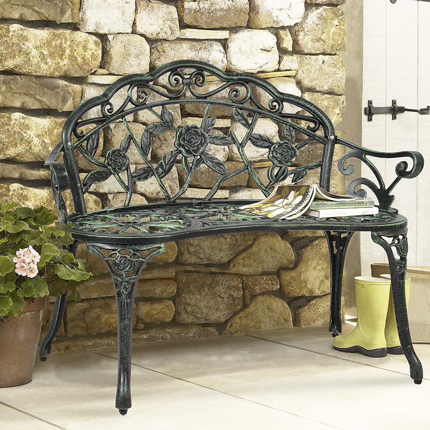 Black Best Choice Products Floral Rose Accented Metal Garden Patio Bench w// Antique Finish
