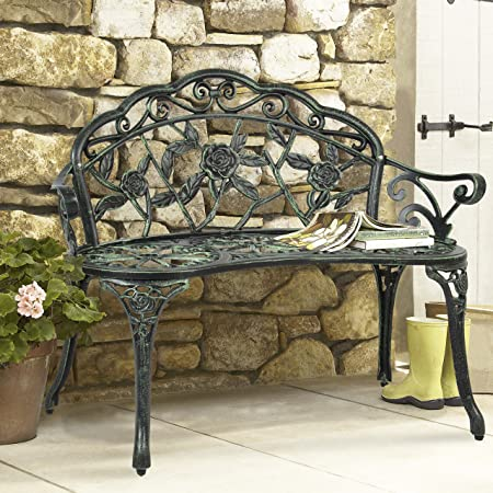 Best Choice Products Floral Rose Accented Metal Garden Patio Bench w Antique Finish – Black