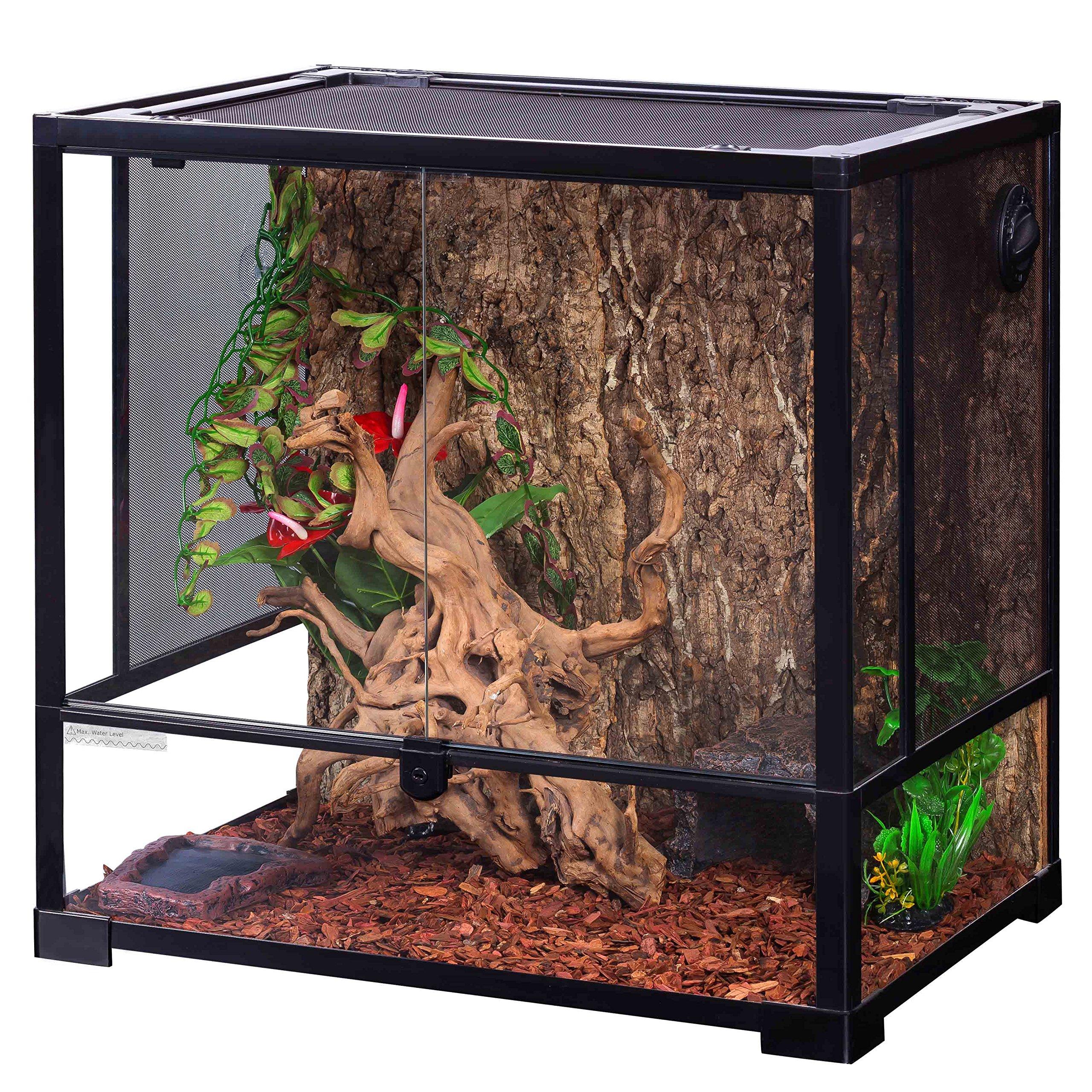 Oiibo Knock Down Glass Reptile Terrarium 24x18x24 Inch (Medium, Tall 24'' x 18'' x 24'')