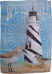 Carson Home Accents Trends Classic Large Flag, Welcome Sandpiper Lighthouse