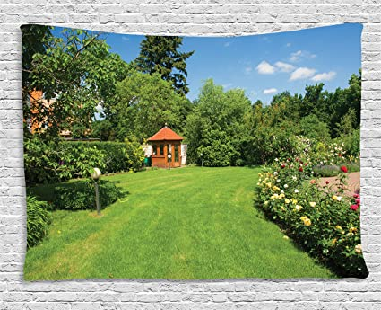 Ambesonne Garden Tapestry, Peaceful Countryside Landscape With Blooming  Roses Brick Path And A Small Gazebo