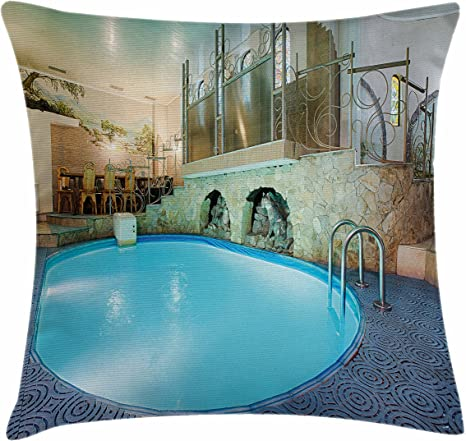 Ambesonne Modern Throw Pillow Cushion Cover Vivid Blue Swimming Pool In Spa Interior Resort Relaxation And Theraphy Theme Decorative Square Accent Pillow Case 24 X 24 Blue Aqua Beige Home