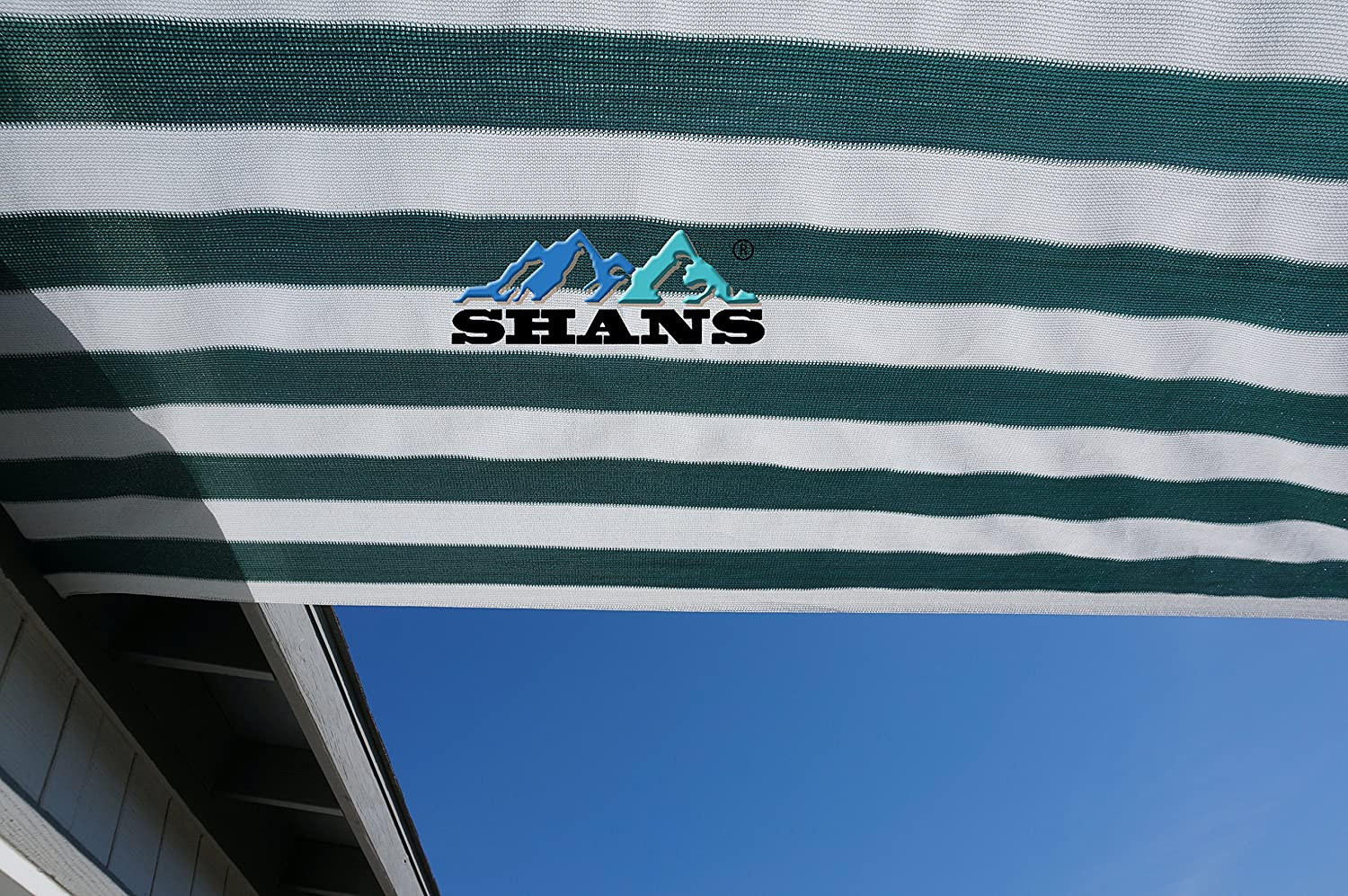 SHANS 90 UV Shade Sail DIY with Clips Free Green and White 12ft x 30ft