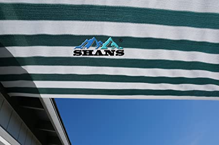 SHANS New Design 90 UV Shade Sail DIY With Clips Free Green and white 12ft x 30ft