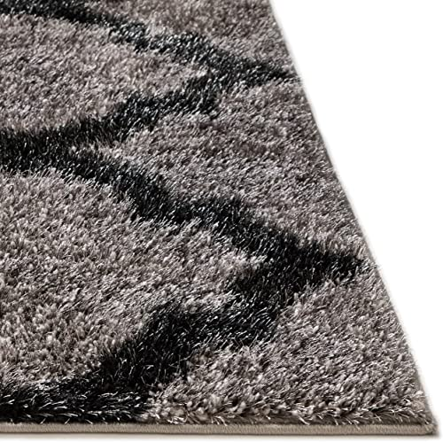 "Well Woven Luxy Soft Plush Moroccan Trellis Shag Dark Grey Black Modern 7x9 6'7"" x 9'3"" Area Rug Luster Pile Dense Plush Carpet"