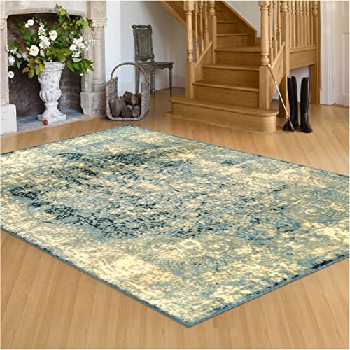 Superior s Zelda Collection Area Rug, 10mm Pile Height with Jute Backing, Durable, Fashionable and Easy Maintenance, 5 x 8 – Blue