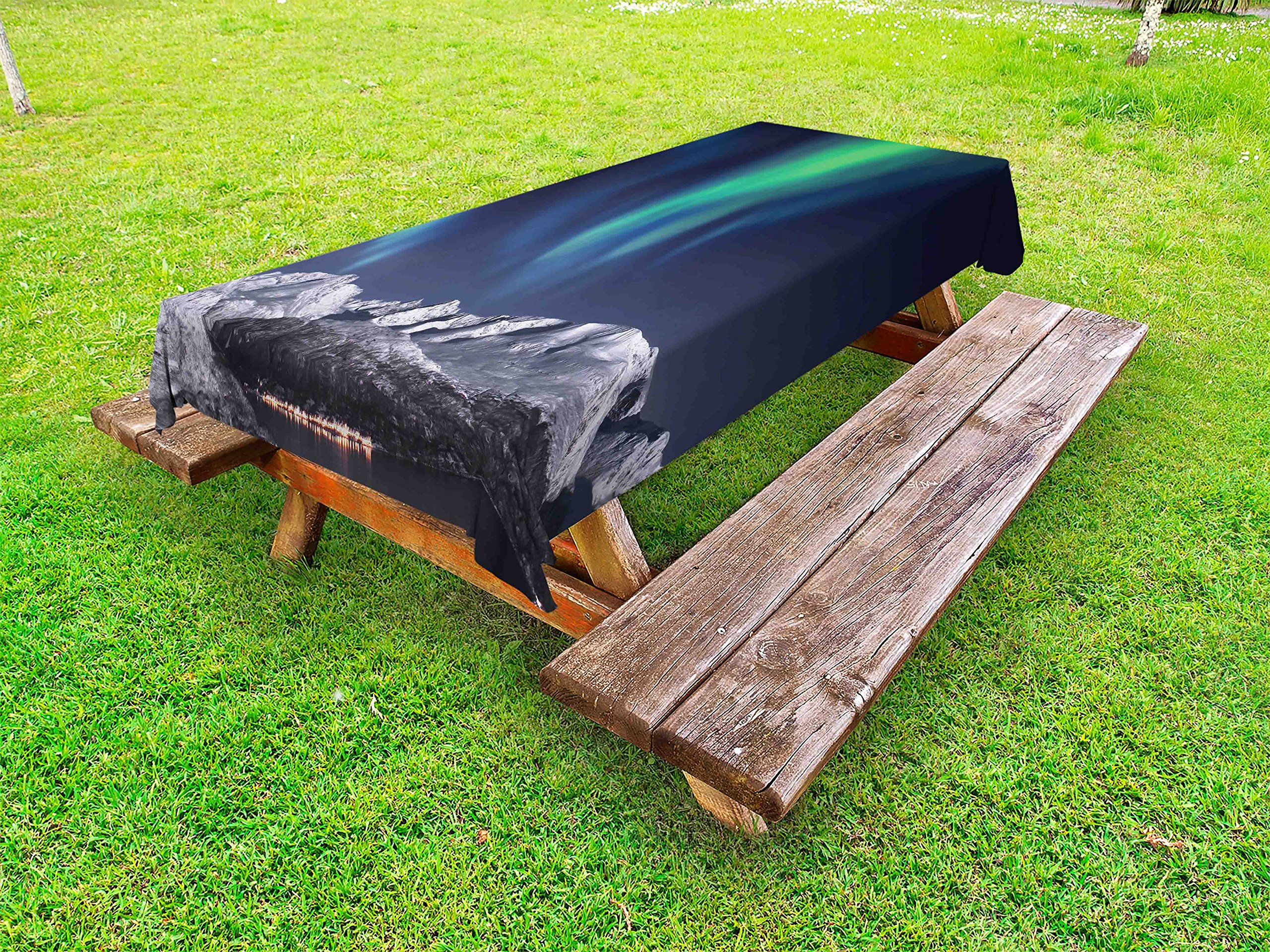 Ambesonne Sky Outdoor Tablecloth, Aurora Borealis Aurora Over Fjords Mountain at Night Norway Solar Image Artwork, Decorative Washable Picnic Table Cloth, 58 X 120 inches, Green Dark Blue