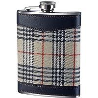 Premier Housewares Tartan Hip Flask - 8 oz - Cream