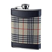 Premier Housewares Tartan Hip Flask - 8 oz - Cream