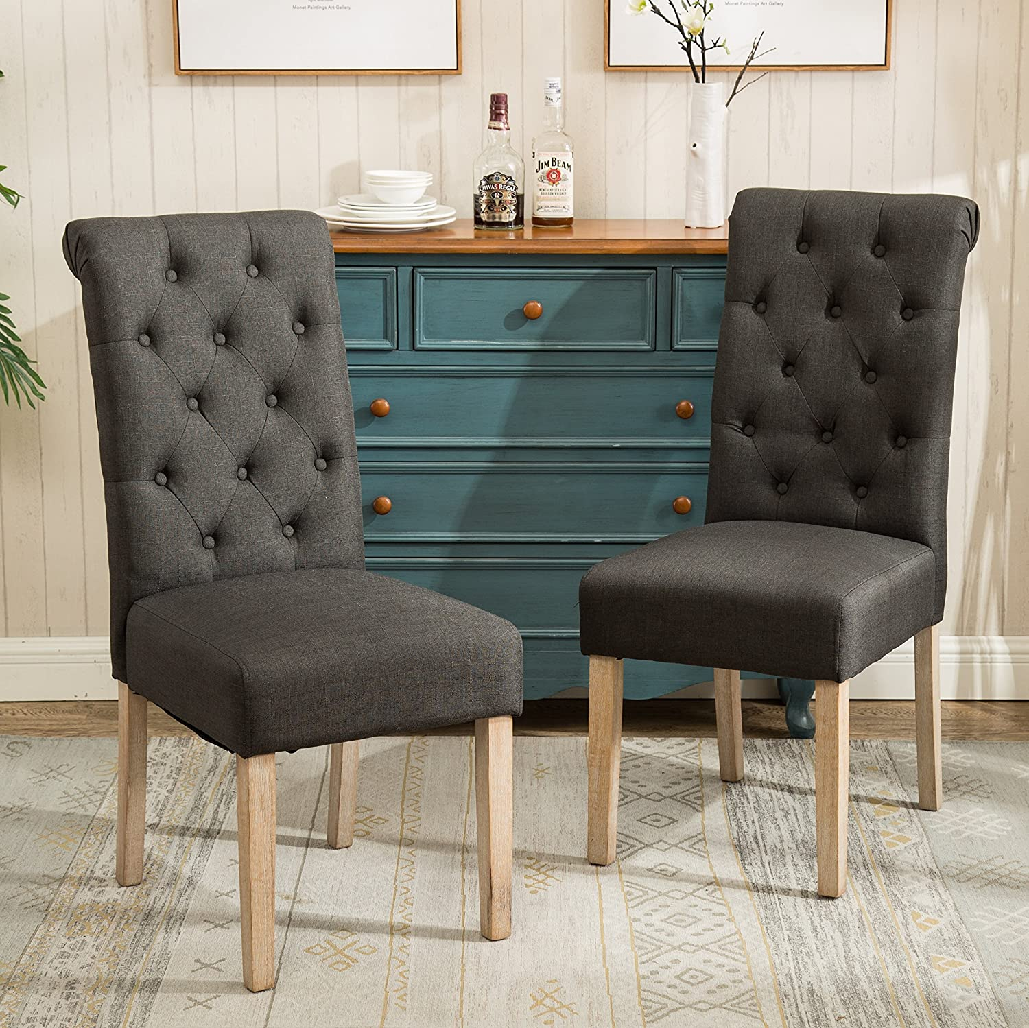 Roundhill Furniture C161CC Habit Solid Wood Tufted Parsons Charcoal Dining Chair, Set of 2